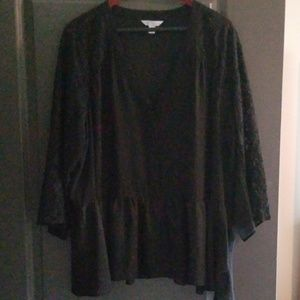 Tops - Boutique Black Lace and Ruffle Peplum Sheer Top